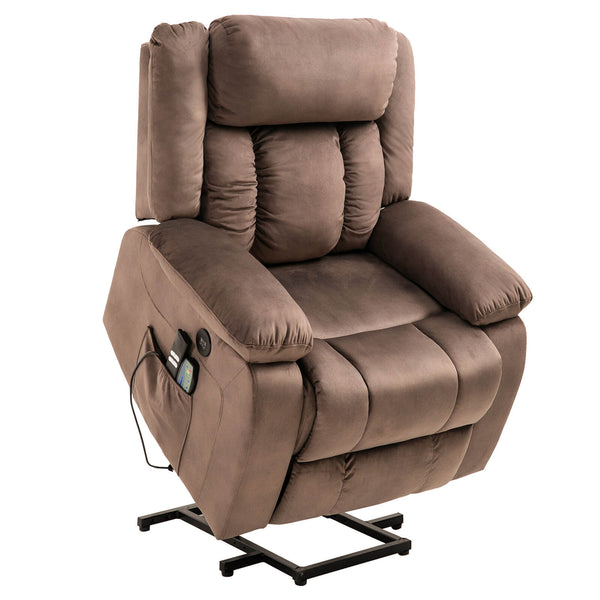 Mecor Lift Chair, Power Lift Recliner for Elderly, Fleece Massage Recliner Chair - Brown