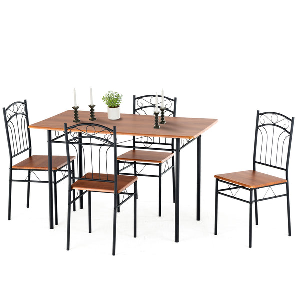 Mecor 5 Piece Dining Table Set, Vintage Wood Tabletop Kitchen Table w/ 4 Chairs with Metal Frame