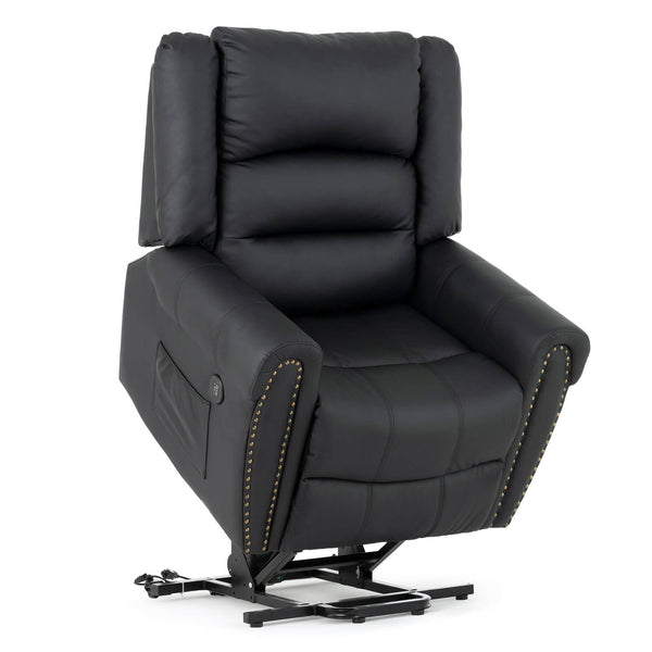 Mecor Lift Chairs Recliners,Lift Chair for Elderly,Reclining Lift Chairs with Dual Motor,Pu Leather Sleeper Recliner Chair with Massage/Heat/Vibration/Remote Control for Living Room