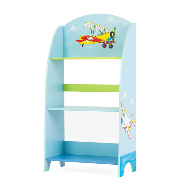 Mecor Kids Bookcase 3-Tier, Wooden Children Bookshelf &Toy Storage, Hand Painted Non-Toxic, (Blue)