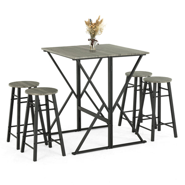 Mecor 5-Piece Drop Leaf Pub Dining Table Set, Folding High Table with 4 Round Bar Stools for Kitchen Dining Room Coffee Breakfast