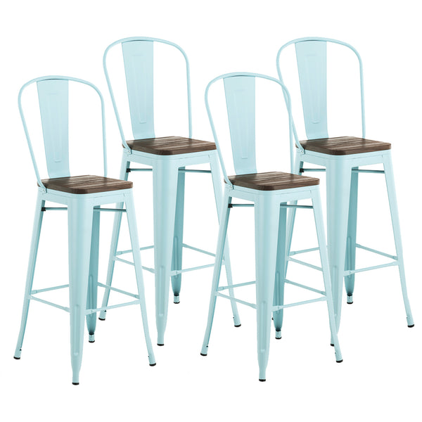 Mecor Metal Bar Stools Set of 4 with Removable Backrest, 30'' Dining Bar Height Chairs with Wood Seat