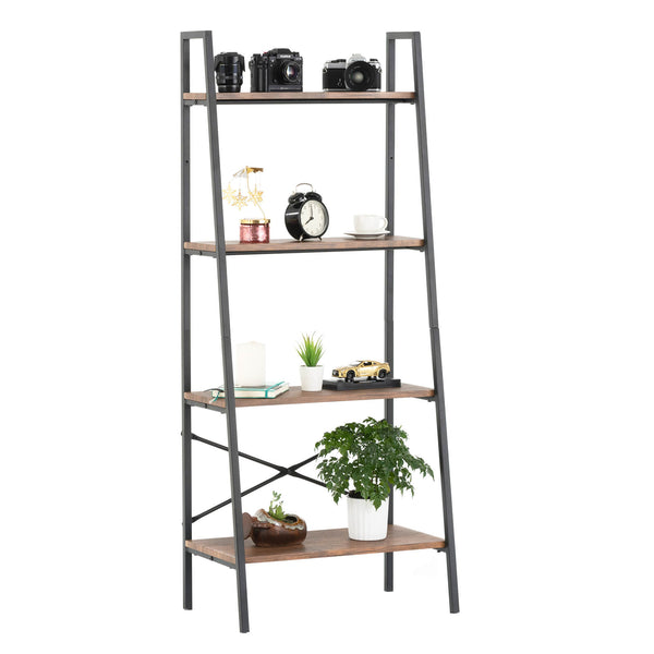 Mecor 4-Tier Industrial Ladder Shelf, Bookshelf, Metal Frame Storage Shelves, Furniture for Home Office, Rustic Brown