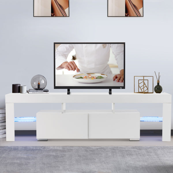 Modern White TV Stand with LED Lights, 63 Inch High Gloss TV Console Cabinet with Storage and 2 Drawers