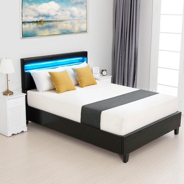 Mecor LED Bed Frame with 8 Color Changing LED Light Headboard, Modern Upholstered Faux Leather Platform Bed with 2.8-Inch Solid Wooden Slats Support/Black