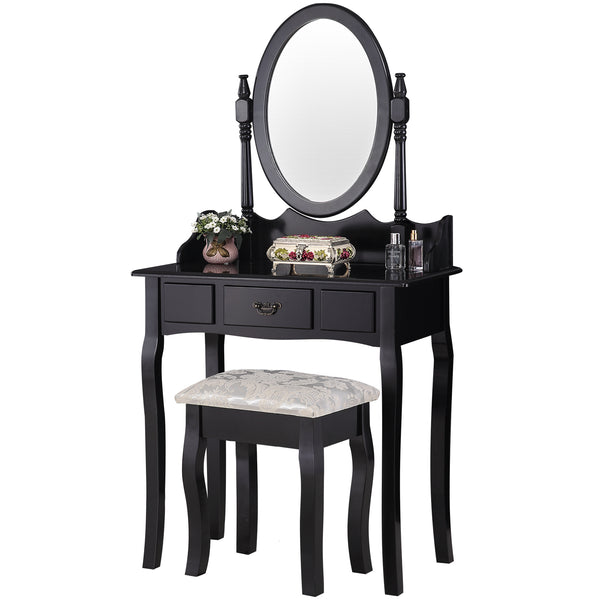 Mecor Vanity Table Set/Oval Mirror, Wood Makeup Table w/Drawer Storage, Bedroom Dressing Table with Cushioned Stool for Kids Girls Women Black