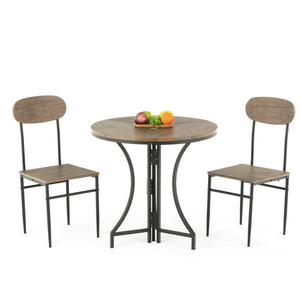 Mecor 3 Pcs Dining Folding Table Set w/ 2 Chairs, Mid-Century Vintage Round Foldable Coffee Table and Chairs with Wood Top and Metal Frame