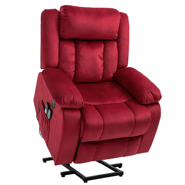 Mecor Lift Chair, Power Lift Recliner for Elderly, Fleece Massage Recliner Chair  - Red