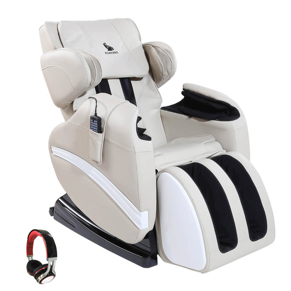 Mecor Massage Chair Full Body, Zero Gravity Heated Recliner with Stretched Foot Rest, Airbag/Rolling Massage System, Music Function (White)