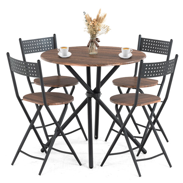 Mecor 5 Pcs Dining Table Set w/ 4 Folding Chairs, Mid-Century Vintage Round Coffee Table and Foldable Chairs