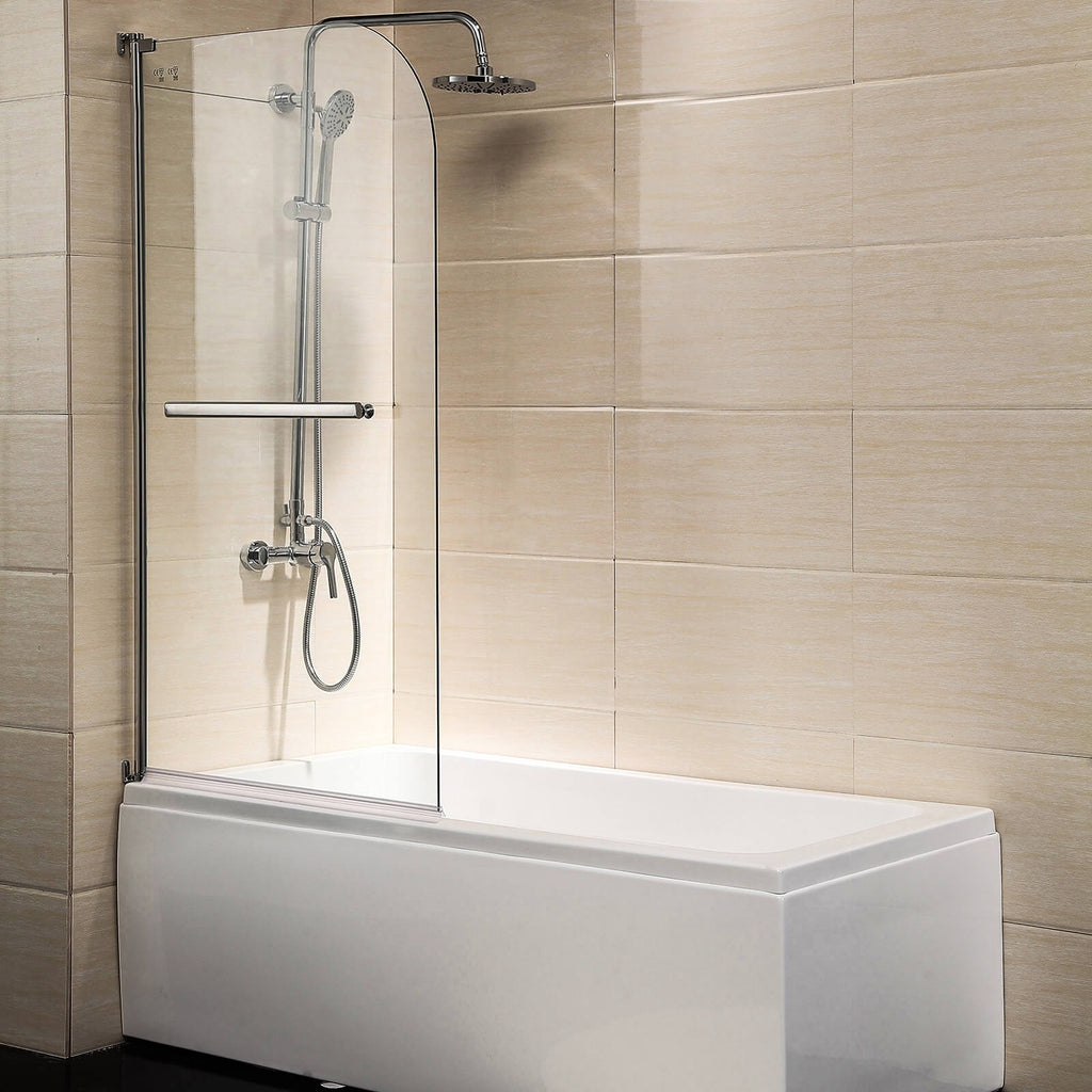 Shower Door 55 X31 Glass Enclosure Hinged Bathtub Door Frameless 1 4 Clear Glass Over 180 Pivot Radius Chrome Finish