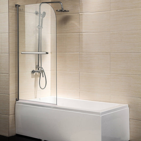 "Shower Door, 55""X31"" Glass Enclosure Hinged Bathtub Door Frameless 1/4"" Clear Glass Over 180° Pivot Radius Chrome Finish"