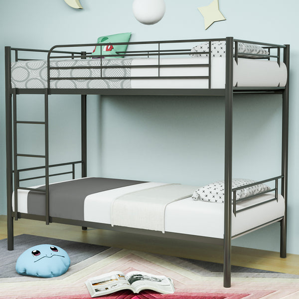 Mecor Metal Bunk Bed Twin Over Twin - Easy Assembly - with Removable Ladder - for Children/Teens/Adults,Black