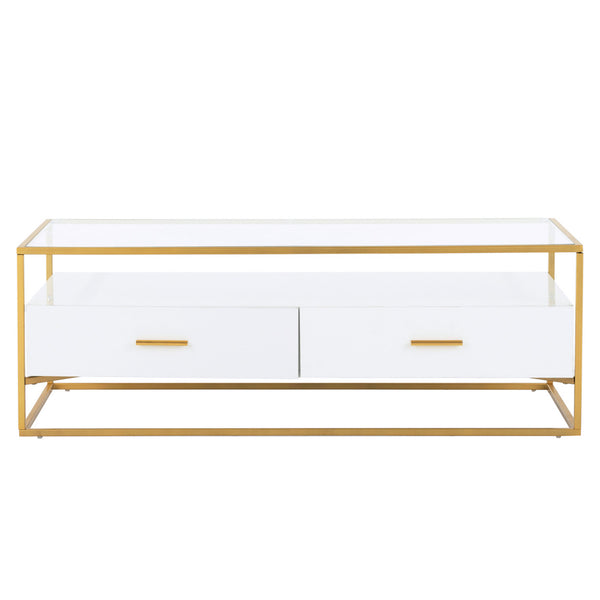 Mecor Coffee Table Glass Top, Rectangle High Gloss Shelf and Two Drawers Storage, Modern Living Room Center Table Gold Painted Metal Frame White