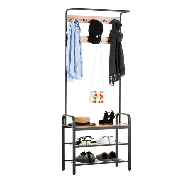 Mecor 3-in-1 Industrial Coat Rack Shoe Bench, Free Standing Hall Tree Entryway Storage Shelf with 3-Tier Shoe Bench, Wood Look Accent Furniture with Metal Frame, 9 Hooks, Easy Assembly