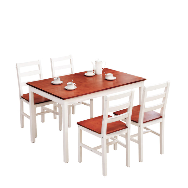 Mecor 5 Piece Kitchen Dining Table Set, 4 Wood Chairs Dinette Table Kitchen Room Furniture