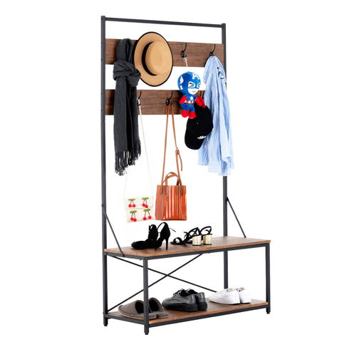 Mecor 3-in-1 Industrial Coat Rack, Hall Tree Entryway Shoe Bench with 2-Tier Shoe Bench and Coat Rack with 7 Hooks, Large Size, Easy to Assemble, Rustic Brown