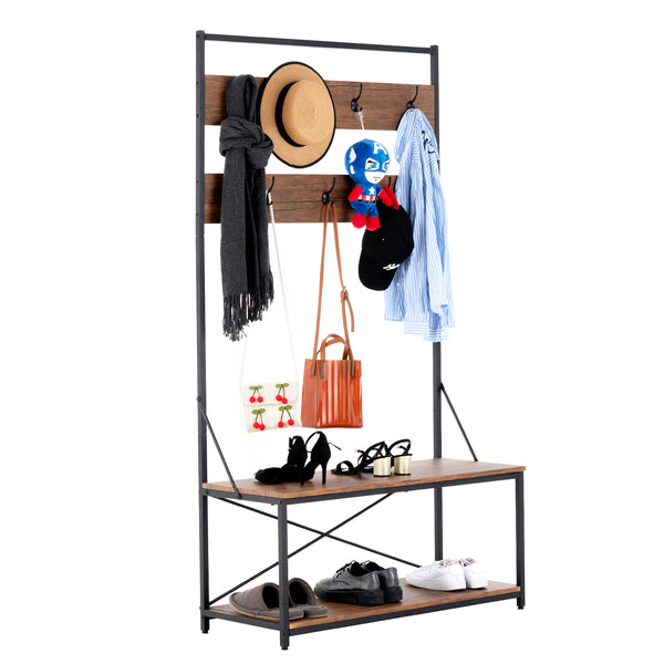 Mecor 3-in-1 Industrial Coat Rack, Hall Tree Entryway Shoe Bench with 2-Tier Shoe Bench and Coat Rack Rustic Brown