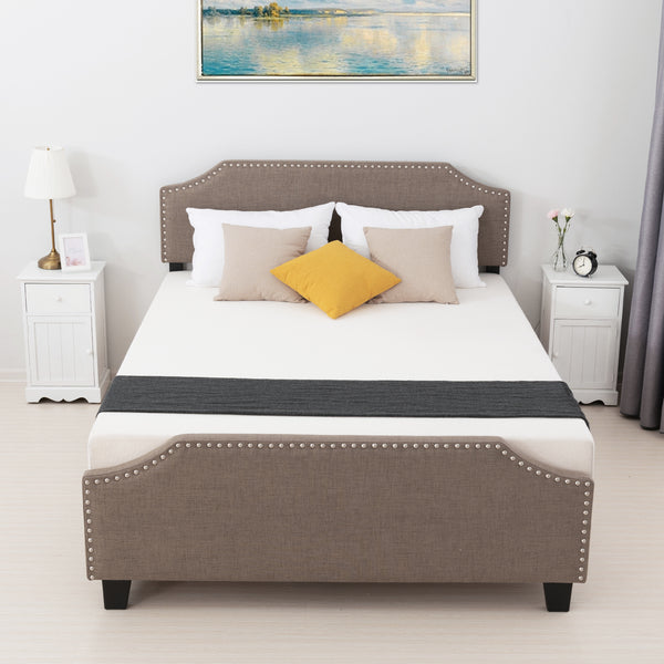 Mecor Upholstered Linen Platform Bed with Curved Shape Headboard and Footboard, Metal Frame with Strong Wood Slat Support, Headboard Height Adjustable, No Box Spring Needed, Brown