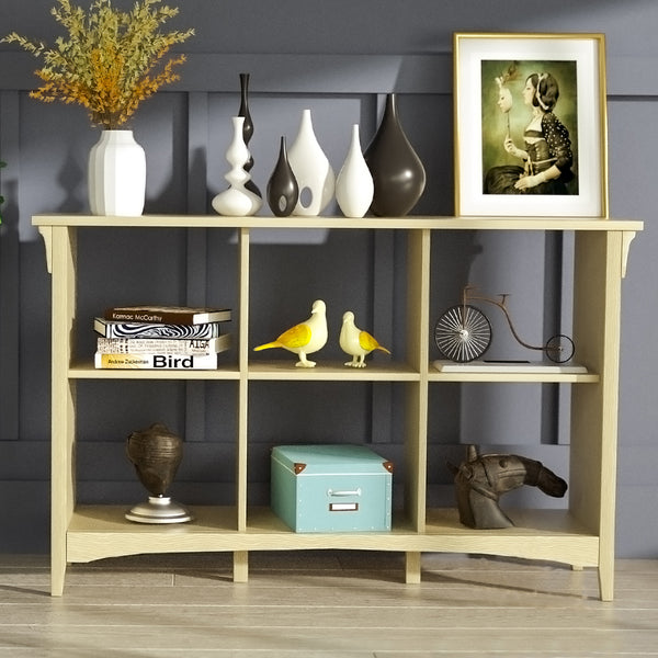 Mecor 6 Cube Organizer/Storage Bookcase w/1 Fixed Shelf and 2 Adjustable Shelves, Natural Color