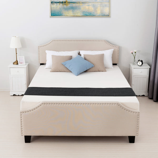 Mecor Upholstered Linen Platform Bed with Curved Shape Headboard and Footboard, Metal Frame with Strong Wood Slat Support, Headboard Height Adjustable, No Box Spring Needed, Beige
