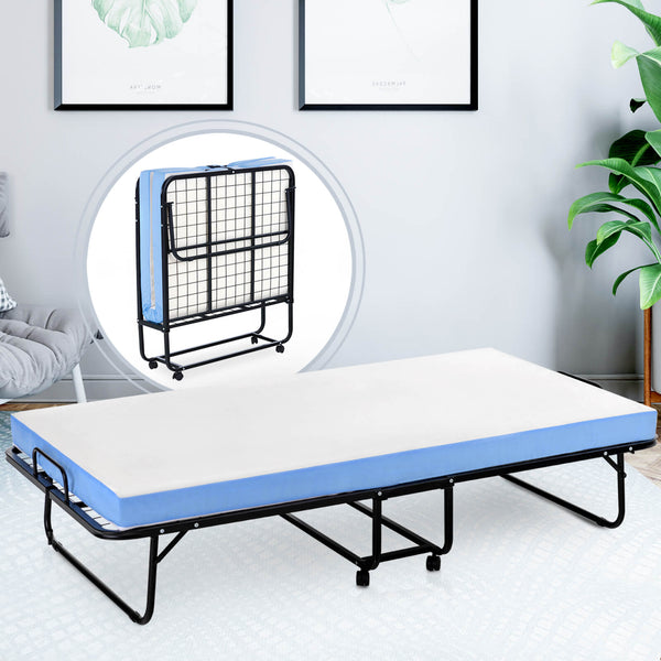 Mecor Foldable Folding Bed, Rollaway Guest Bed with 4 Inch Removable Mattress - Heavy Duty Metal Frame with Wheels -Twin Size