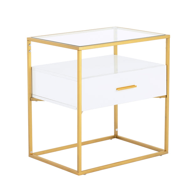 Mecor Side End Table Tempered Glass Top, Nightstand with Drawer Storage Gold Painted Frame, Living Room Accent Table Furniture White