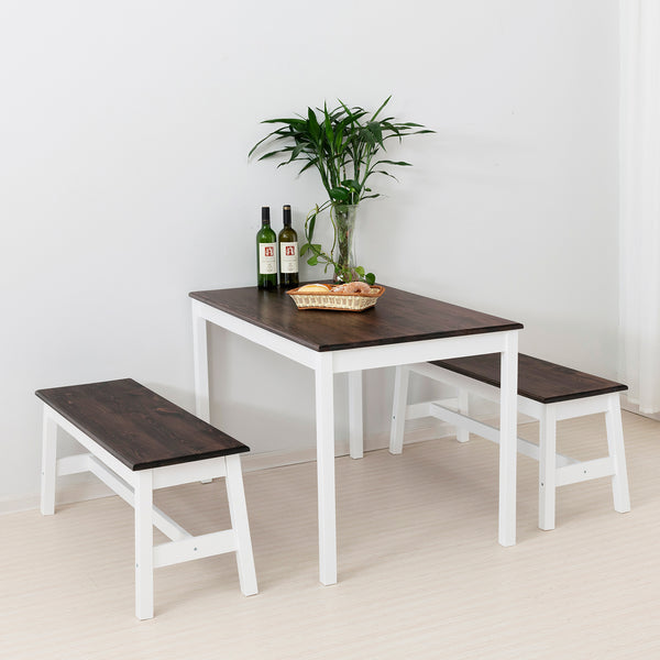 Mecor 3-Piece Dining Set Table w/ 2 Wood Benches, Solid Wood Tabletop and Benches for Home Kitchen Dining Room Furniture