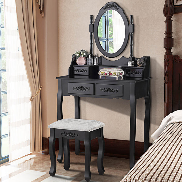 Makeup Vanity Sets with Oval Mirror, 4 Drawers Girls Women Bedroom Makeup Table