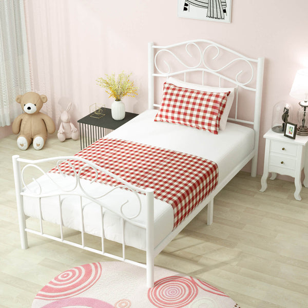 Twin Curved Metal Bed Frame/Mattress Foundation/Platform Bed for Kids Girls Boys Adults with Steel Headboard Footboard,No Box Spring Needed
