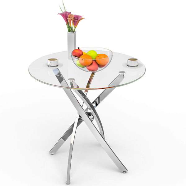 Mecor Contemporary Glass Top Dining Table, Kitchen Bistro Round Table w/Art-Design Stainless Steel Frame, Clear