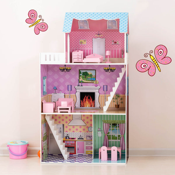 "Mecor Kids Dollhouse 42 inch Height,3 Level Wooden Children Open Playhouse with Furniture 4 Rooms for 14"" Dolls (Pink-1)"