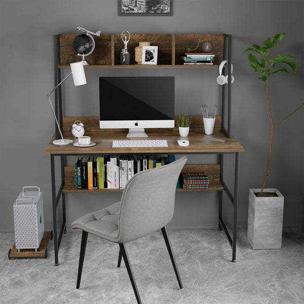 Mecor Computer Desk Study Writing Table for Home Office, Modern Writing Study Desk with Storage Bookshelf and CPU Stand for Small Spaces, PC Laptop Table Workstation for Home Office