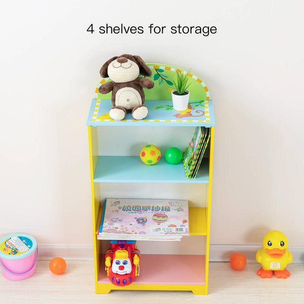 Mecor Children Bookshelf 4-Tier, Wooden Kids Bookcase&Toy Storage,Hand Painted Non-Toxic, (Yellow)