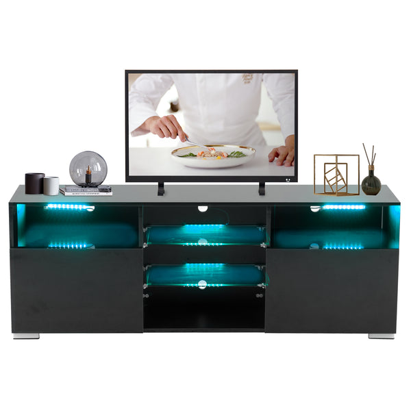"High Gloss TV Stand with LED Lights, 58"" TV Shelves Console 3 Layers, 2 Doors"