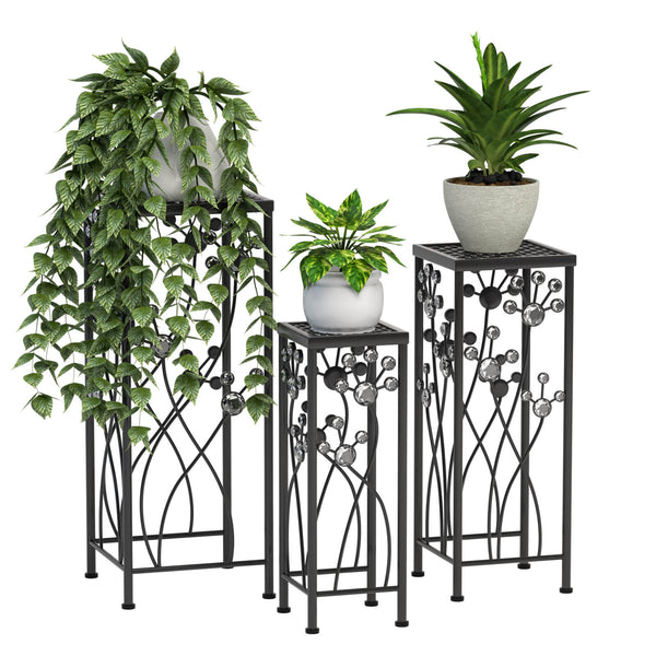 Mecor Metal Plant Stand 3 in 1 Flower Pot Holder Indoor/Outdoor Display Rack for Potted Plant (Square)