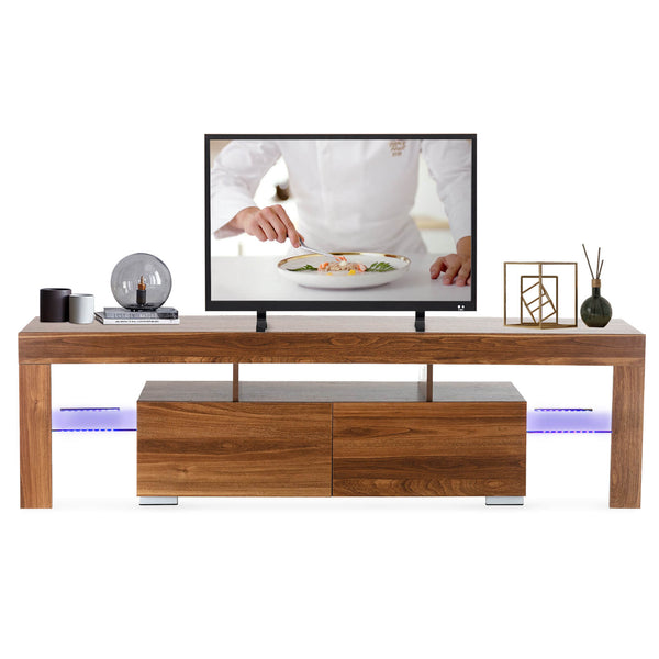Mecor Modern TV Stand with LED Lights, 65 Inch TV Stand with 2 Drawers and Shelves TV Console Cabinet for Living Room