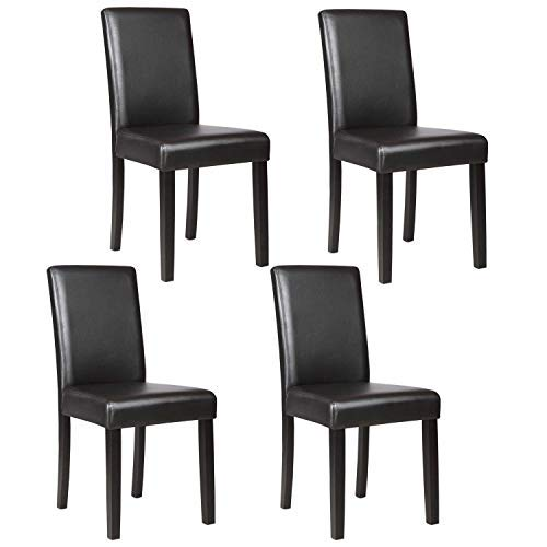 Mecor Upholstered Dining Chairs Set of 4, Kitchen PU Leather Padded Chair w/Solid Wood Frame Dining Room Furniture