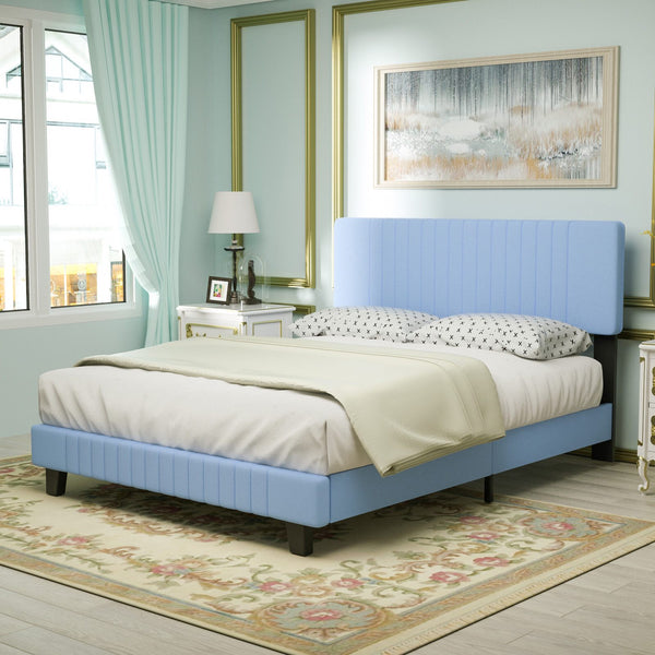 Mecor Upholstered Linen Platform Bed | Vertical Striped Headboard and Metal Frame with 2.8-inch Solid Wood Slat Support Blue