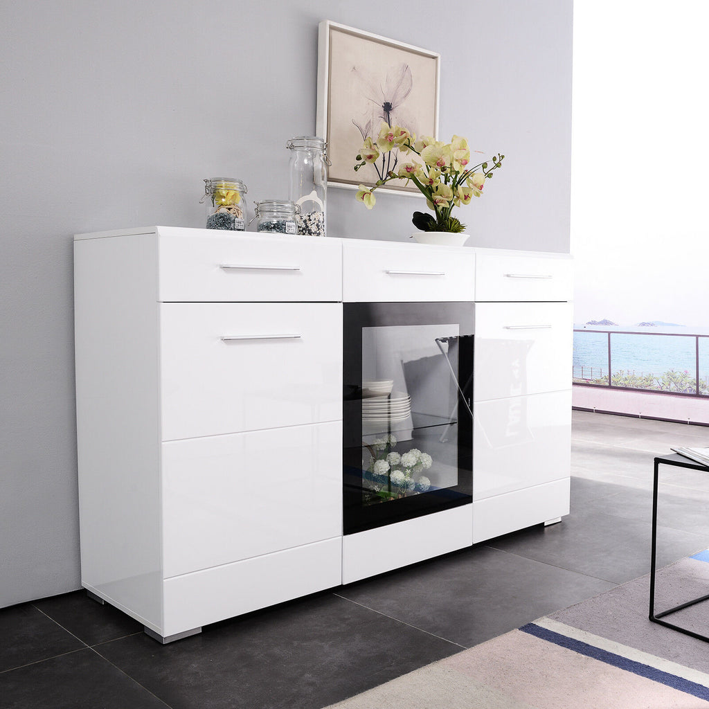 Mecor LED Sideboard Buffet Cabinet Server Table Storage with 3 Door/2  Drawers, Kitchen Dining Room Furniture