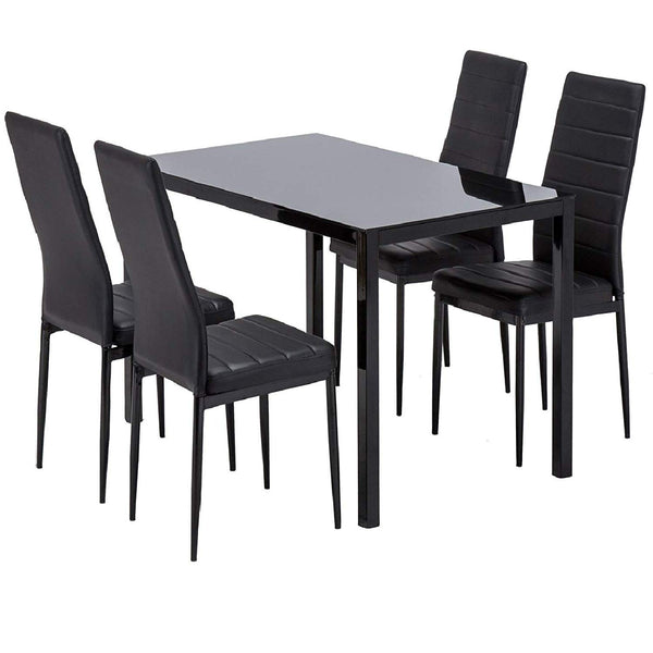 Mecor Dining Table Set, 5 Piece Kitchen Table Set with Glass Table Top 4 Leather Chairs Dinette (Black)