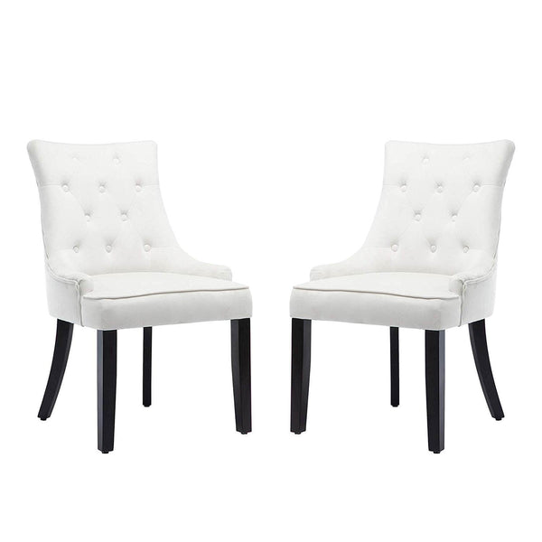 Mecor Tufted Fabric Dining Chairs Set of 2, Leisure Velvet Padded Chairs with Nailhead Trim,Solid Wooden Legs