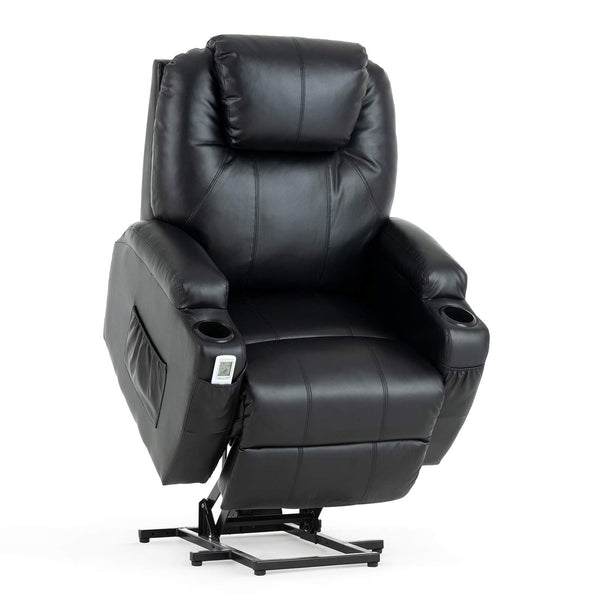 Mecor Lift Chairs for Elderly, Power Lift Recliners, PU Leather Reclining Lift Chair with Massage/Heat/Cup Holders - Upgraded