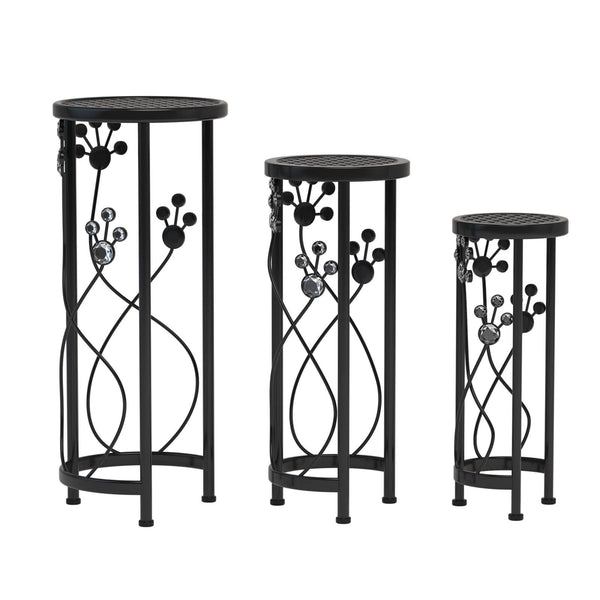 Mecor Metal Plant Stand 3 in 1 Flower Pot Holder Indoor/Outdoor Display Rack for Potted Plant (Round)