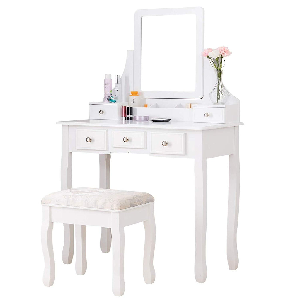 Makeup Vanity Table Set, Dressing Table w/Square Mirror, 5 Drawers