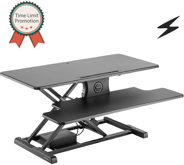 "Mecor Electric Height Adjustable Standing Desk Converter Stand up Power Riser 37"" Black Tabletop Workstation fits Dual Monitor"