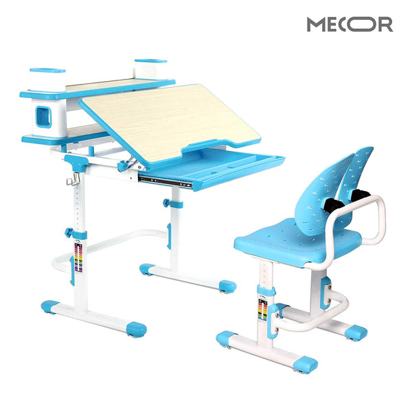 Mecor Kids Desk with Chair Set Ergonomic Winged Backrest,Children Student Sturdy Table w/Book Shelf/Sliding Drawer Storage Blue