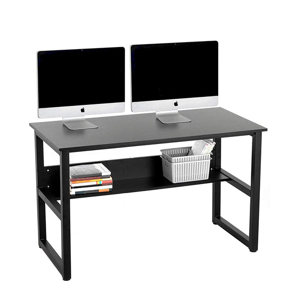 "Mecor 47"" Computer Desk with Bookshelf,Office Desk Study Table Workstation for Home Office (Black)"