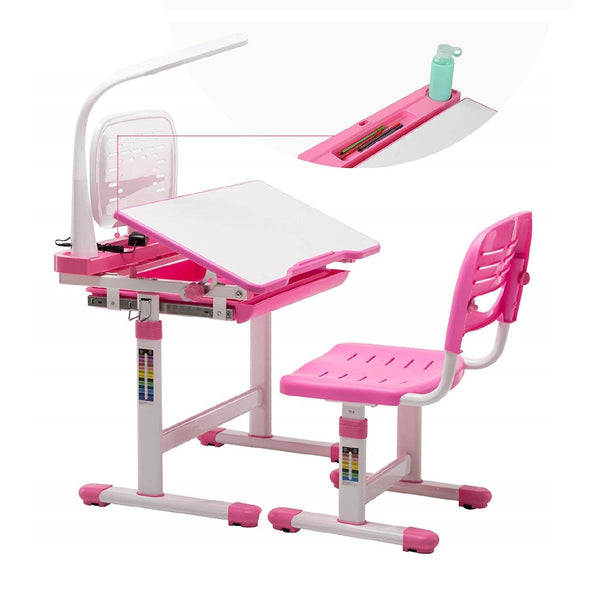 Kids Desks, Children Desk and Chair Set Height Adjustable, Childs School Student Sturdy Table w/Lamp