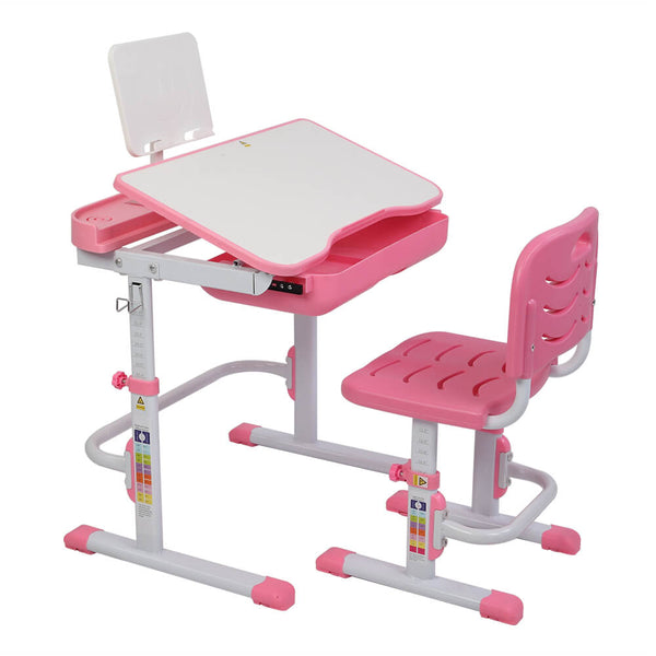 Kids Desk and Chair Set w/Bookshelf, Child Student School Desk Height Adjustable With Reading Stand Without Table Lamp - Pink